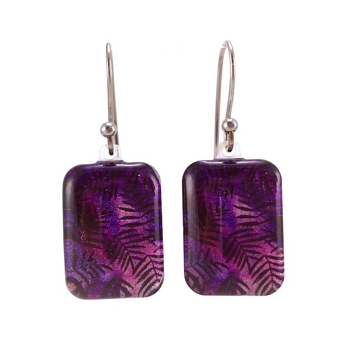 Purple Fern Earrings