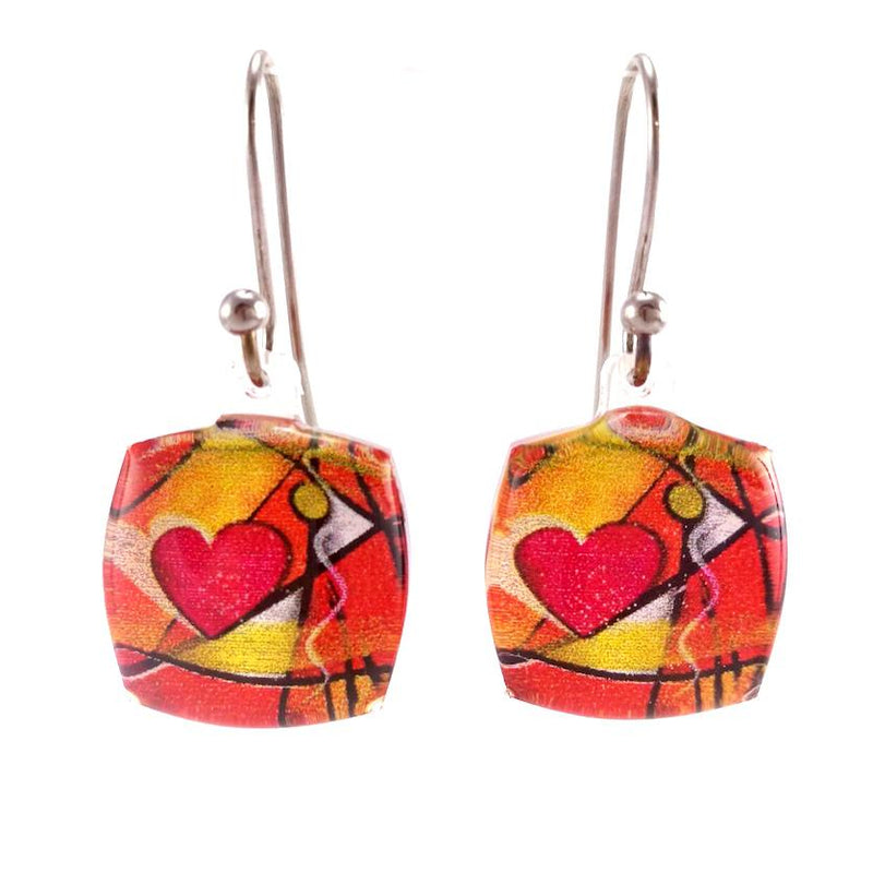 Red Exotic Heart Earrings