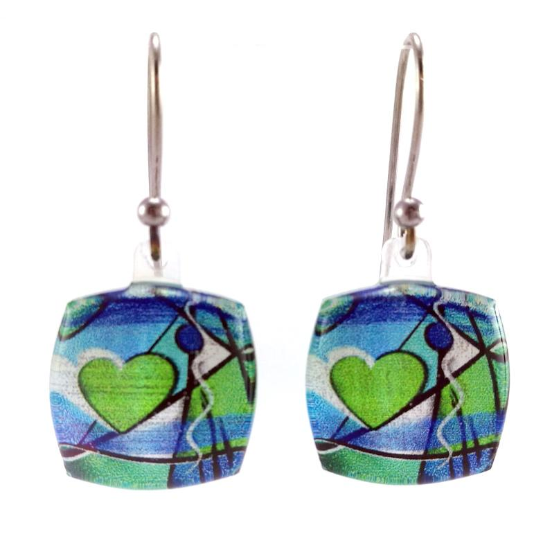 Turquoise Exotic Heart Earrings