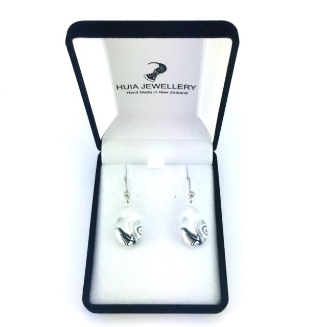 Black & White Silver Fern Earrings