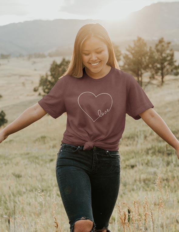 Heart With Love - Luxury Unisex Fit Tee