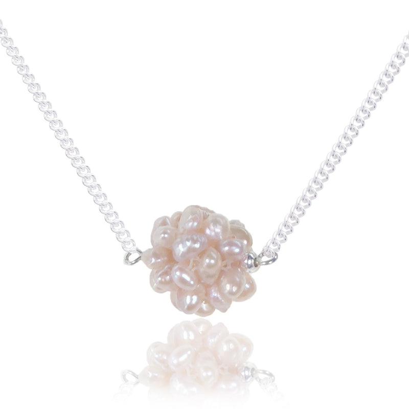 Mere Pink Seed Pearl Cluster 45cm Necklace