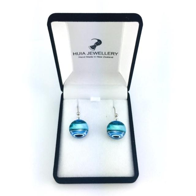Blue Round Marble Earrings