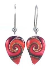 Red Mystic Wave Flow Earrings