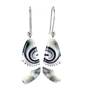 Black & White Triangle Dot Wave Earrings
