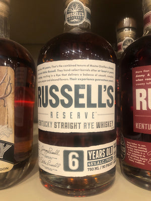 Russels Reserve 6yr Rye Whiskey, 750 ml