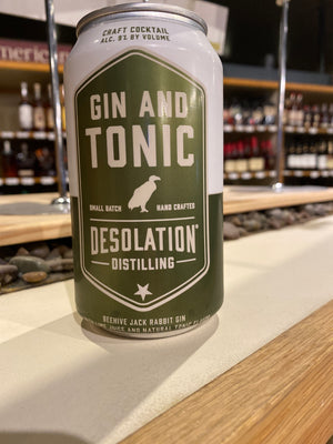 Desolation Distilling, Gin and Tonic, RTD, 12oz can