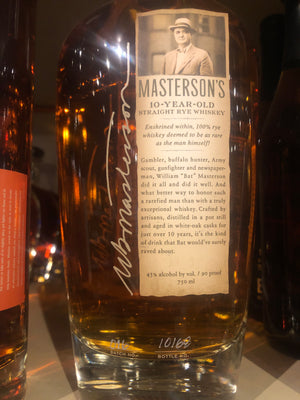 Masterson's 10yr Rye Whiskey, 750 ml