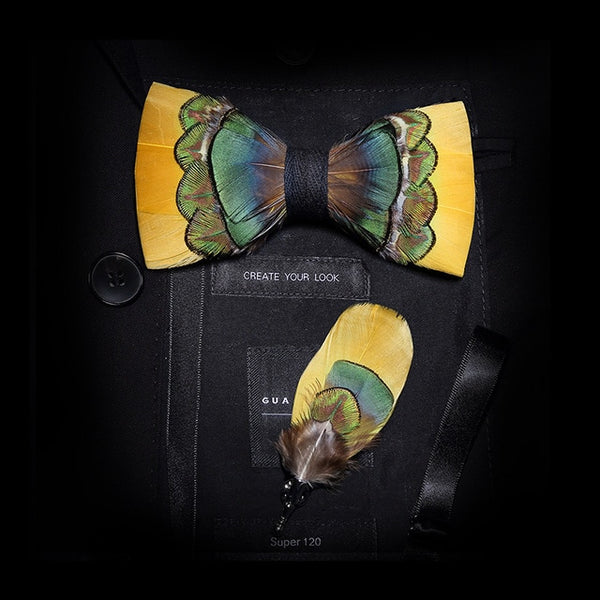 Men Bow-tie Brooch Set Feather Style Leather Bow Tie