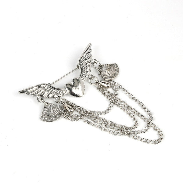 Metal Heart Wings Gold Brooches Vintage Tassel