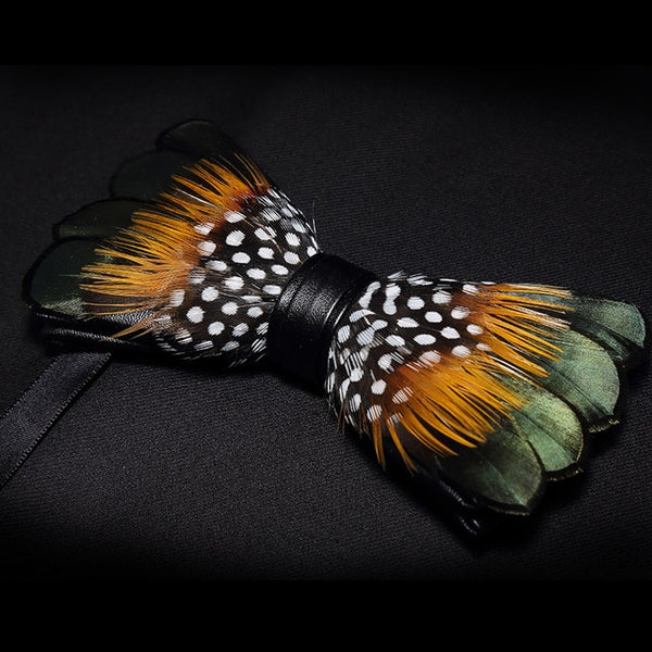 Leather Pre-tied Bow tie and Brooch Sets for Men