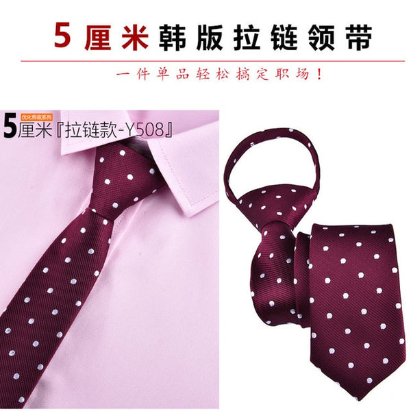 Slim Narrow Lazy Tie Easy To Pull Rope Neckwear Korean