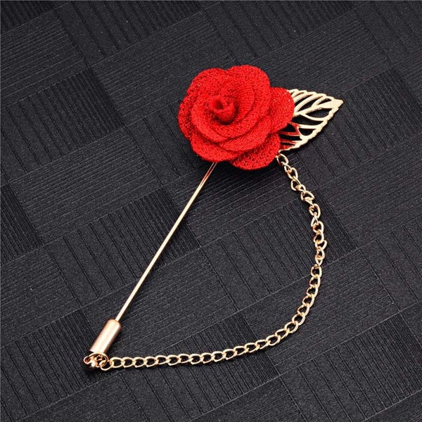 Men Rose Flower Brooch for Suits Winter Coat Collar