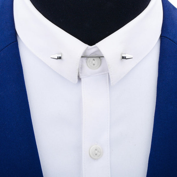 Mens Shirt Collar Pin Metal Brooch Cone Bar Clasp Clip