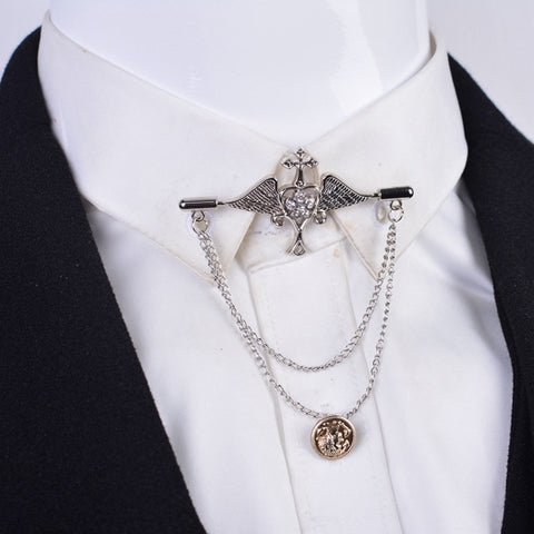 Corsage Korea Suit Badge Angel Wings Chain Pin