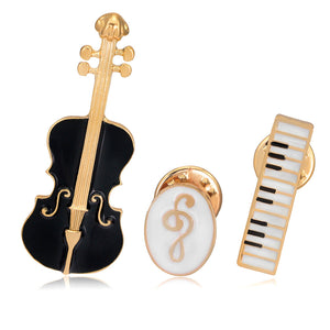 3pcs/set Unisex Musical Instruments Violin Brooches