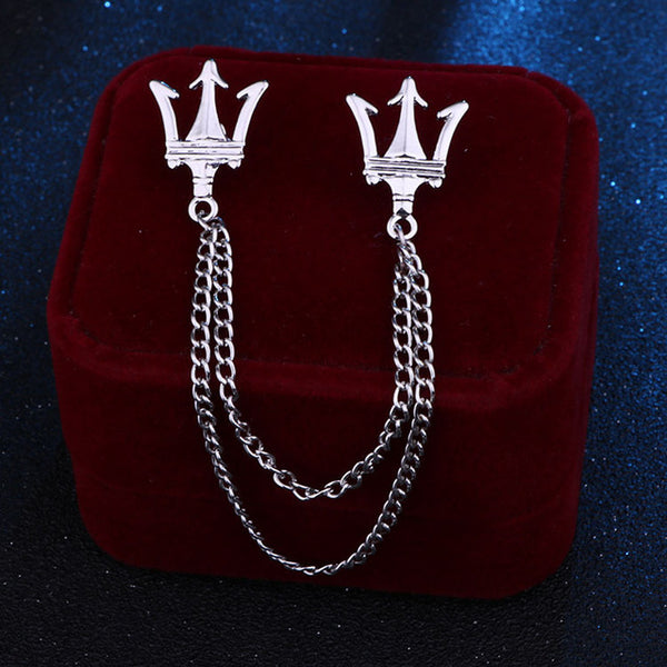 Korean Metal Crown Brooch Pin Jewelry Luxury Tassel