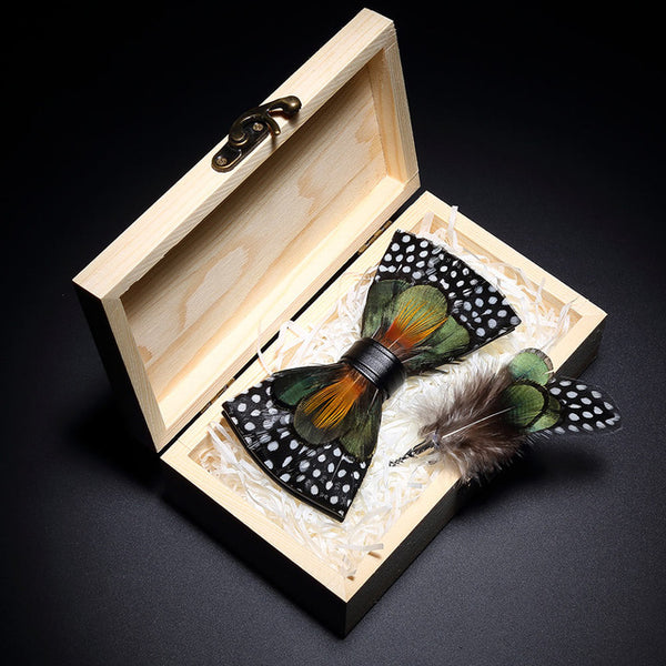 design handmade feather bow tie brooch wooden