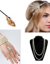 1920s Charleston Party Flapper Girl Rhinestone Headband Pearl Necklace Bracelet Cigarette Holder Great Gatsby Accessories Set