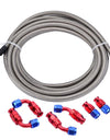 WoWAutoPart 9.84 ft AN10 Stainless Steel Braided PTFE Oil Hose Line Kit