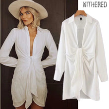 Load image into Gallery viewer, Withered fashion blogger england style white shirt bow sexy dress women vestidos de fiesta de noche vestidos party dress blazers