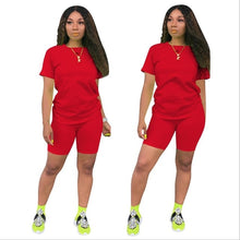 Load image into Gallery viewer, 2019 new women solid sporting casual two piece set short sleeve tee top above knee pants suit tracksuit outfit 4 color