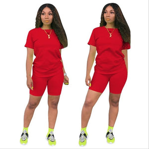 2019 new women solid sporting casual two piece set short sleeve tee top above knee pants suit tracksuit outfit 4 color