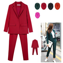 Load image into Gallery viewer, Work Pant Suits OL 2 Piece Set for Women Business interview suit set uniform smil Blazer and Pencil Pant Office Lady suit