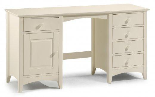 Cara Twin Pedestal Dressing Table - Stone White