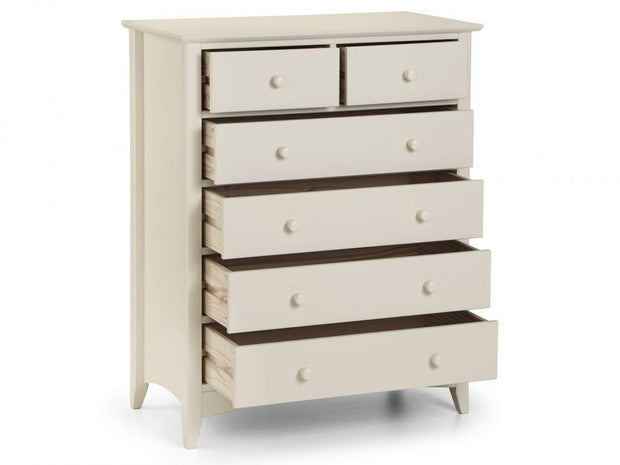 Cara 4 + 2 Drawer Chest Of Drawers - Stone White