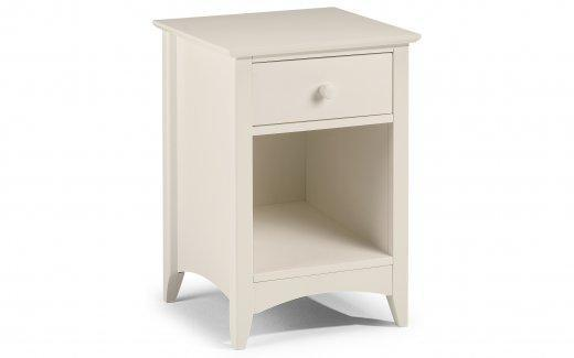 Cara 1 Drawer Bedside Table - Stone White