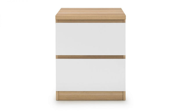 Jude 2 Drawer Bedside Table - White/Oak