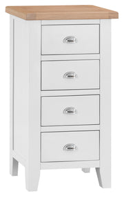 Hampstead White 4 Drawer Narrow Chest Of Drawers