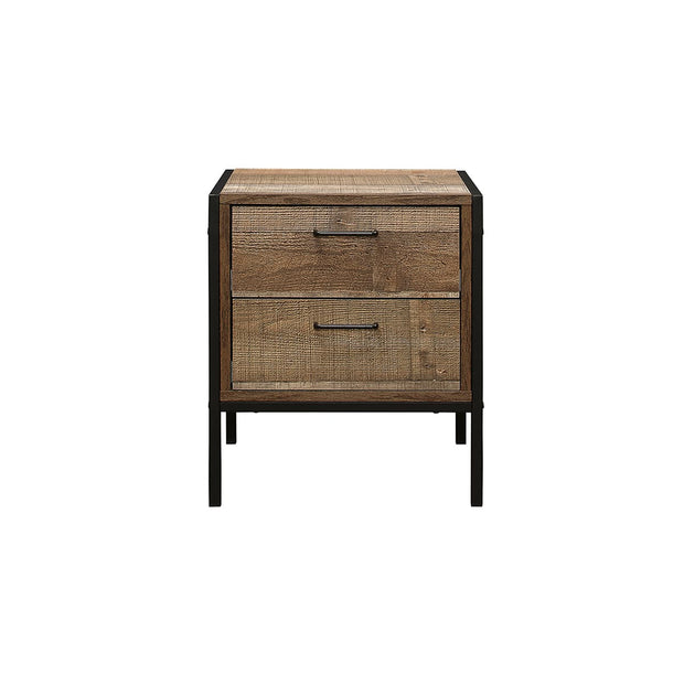 Rustic 2 Drawer Bedside Table