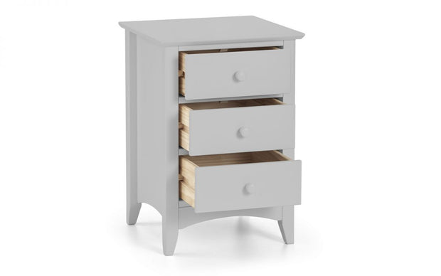 Cara 3 Drawer Bedside Table - Dove Grey