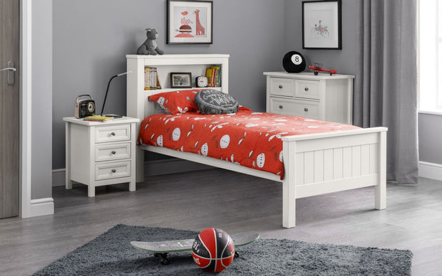 Mandy Bookcase Bed - Surf White