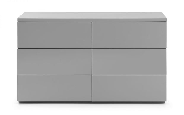 Monte 6 Drawer Wide Chest Of Drawers - Grey High Gloss