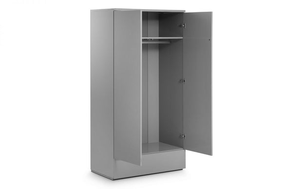 Monte 2 Door Combination Wardrobe - Grey High Gloss