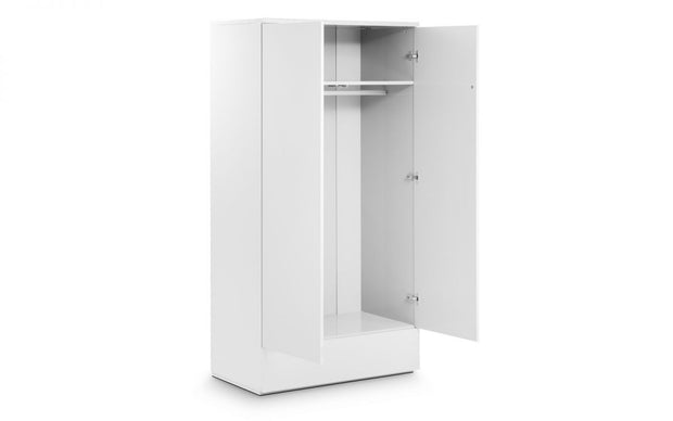 Monte 2 Door Combination Wardrobe - White High Gloss