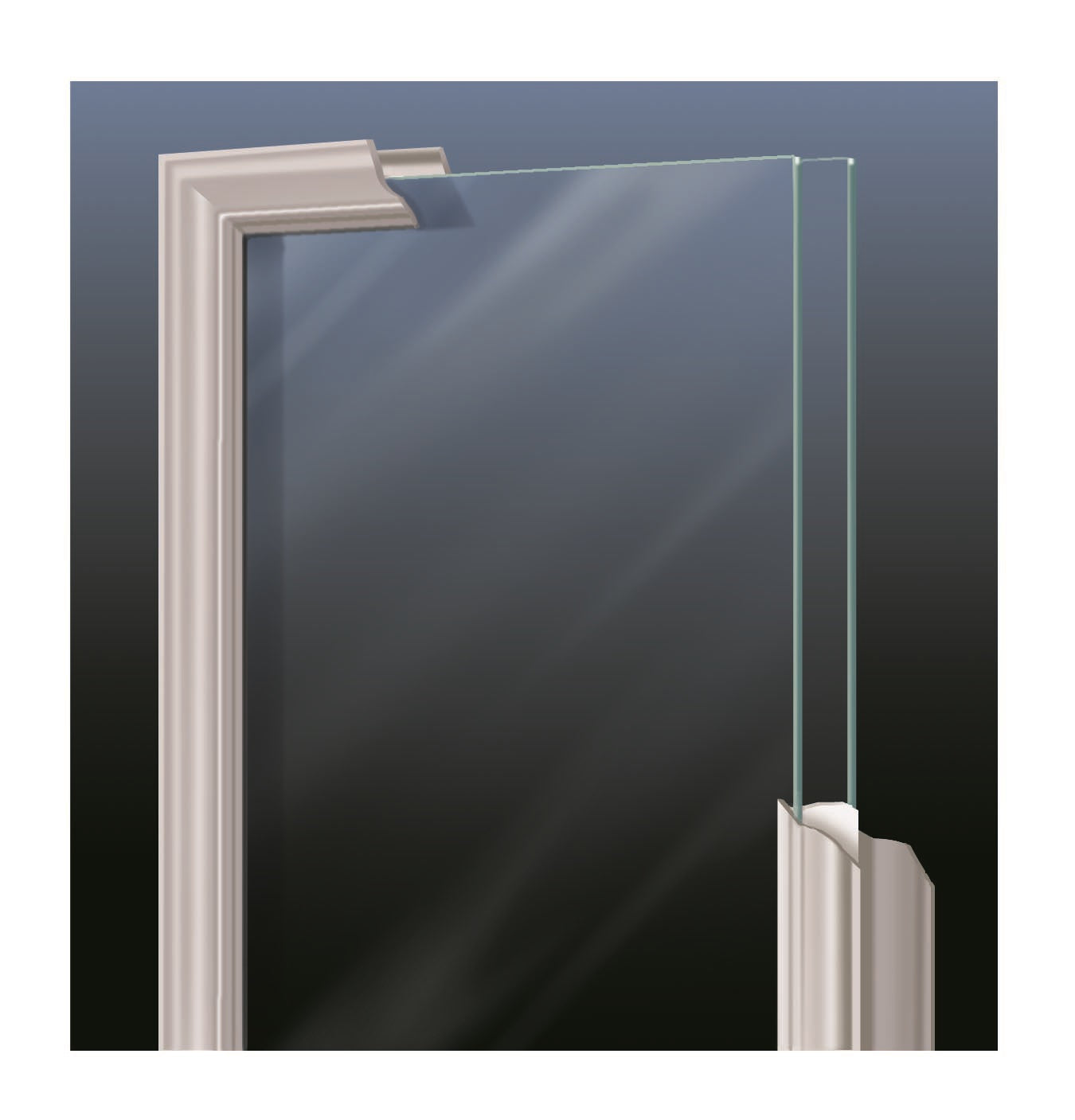 "Clear Arched Top Glass and Frame Kit (Half Lite 22"" x 38"" Glass Size)"