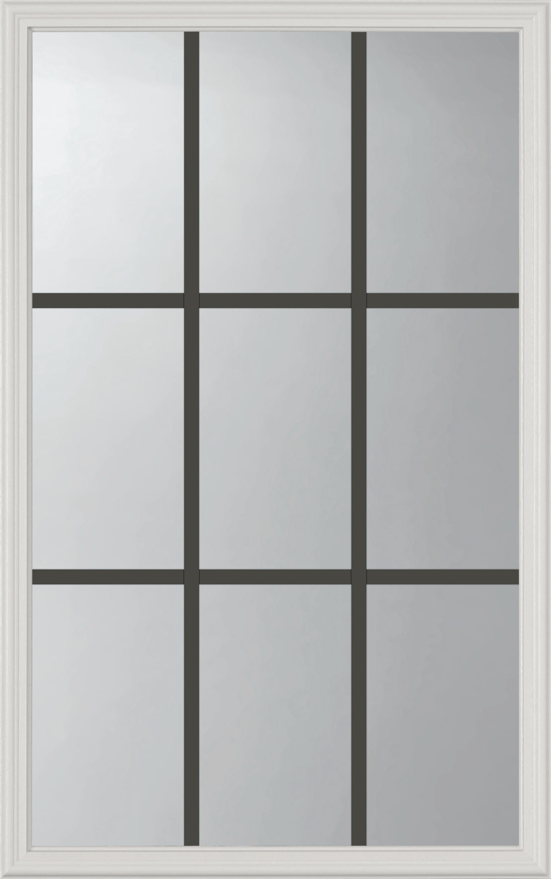 "Grills Between Glass 9 Lite Glass and Frame Kit (Half Lite 22"" x 36"" Glass Size)"