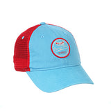 CHICAGO DOGS ZEPHYR LAGER HOT DOG LIGHT BLUE/RED MESH ADJUSTABLE SNAPBACK CAP - Chicago Dogs Team Store