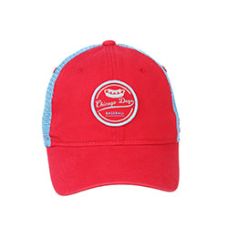 CHICAGO DOGS ZEPHYR LAGER HOT DOG LIGHT BLUE/RED MESH ADJUSTABLE SNAPBACK CAP