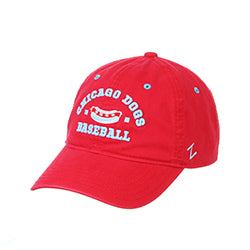 CHICAGO DOGS ZEPHYR  PATRON HOT DOG RED ADJUSTABLE STRAPBACK CAP - Chicago Dogs Team Store