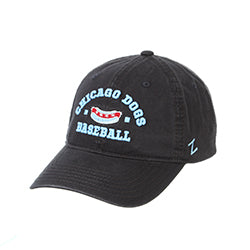 CHICAGO DOGS ZEPHYR  PATRON HOT DOG CHARCOAL ADJUSTABLE STRAPBACK CAP - Chicago Dogs Team Store