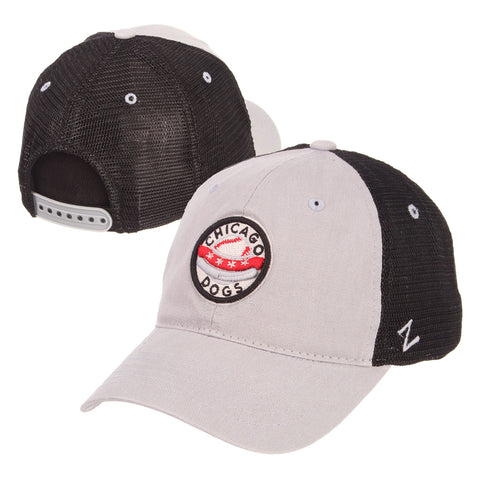 Chicago Dogs Zephyr Primary Logo Mesh Trucker Snapback Hat - Grey/Black