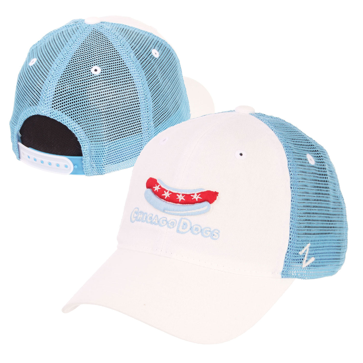 Chicago Dogs Zephyr Secondary Logo Mesh Trucker Snapback Hat - White/Light Blue