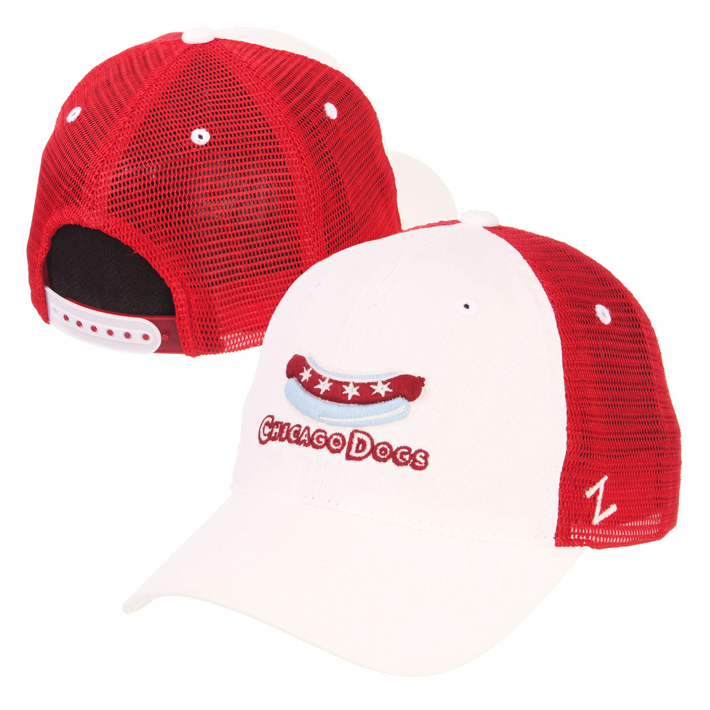 Chicago Dogs Zephyr Secondary Logo Slouch Trucker Mesh Snapback Hat - White/Red