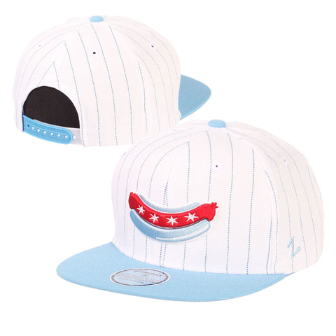 Chicago Dogs Zephyr Alternate Logo Flat Brim Wool Pinstripe Snapback Hat - White/Light Blue