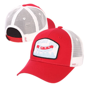 Chicago Dogs Zephyr Skyline Mesh Trucker Snapback Hat - Red/White